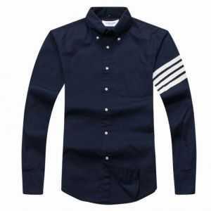 Thom Browne Arm Stripe Long Sleeve  Shirt Navy Blue