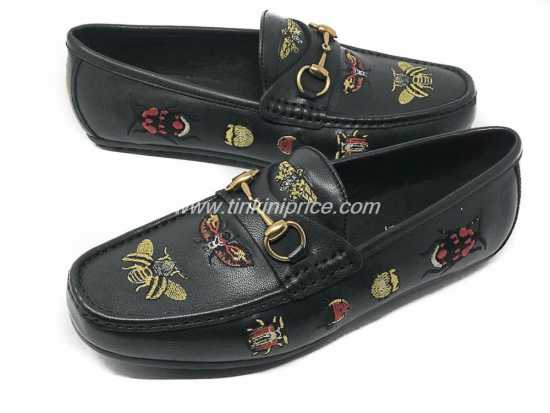 Gucci Ace embroidered Leather Drivers Black