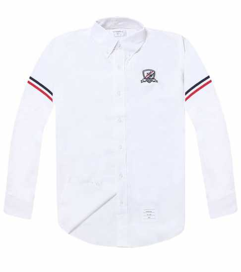 Thom Browne Chest Crested Long Sleeve Shirt White