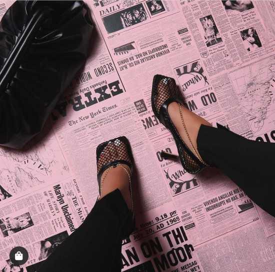 EGO Chain Square Toe Fishnet Court Shoe - Black