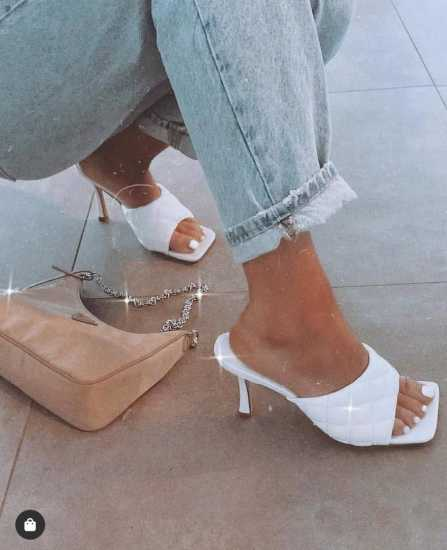 Square Toe Quilted Mule - White