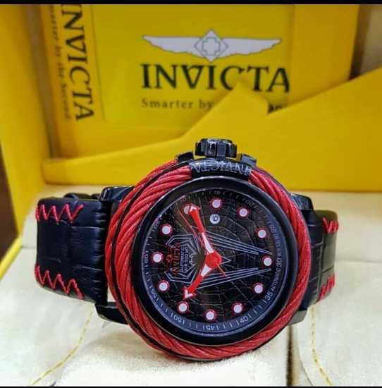 Invicta Automatic 500 MT Leather Black Red