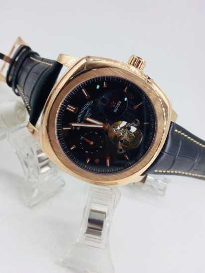 Lamboghini Leather Watch Black Gold