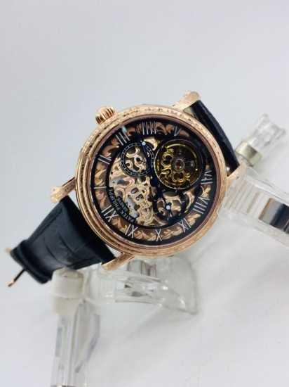 Patek Philippe Skeleton Leather Watch  Black