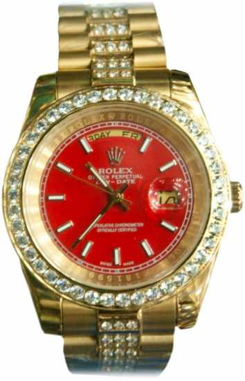 Rolex Day-Date Stoned Gold watch with Red Dial