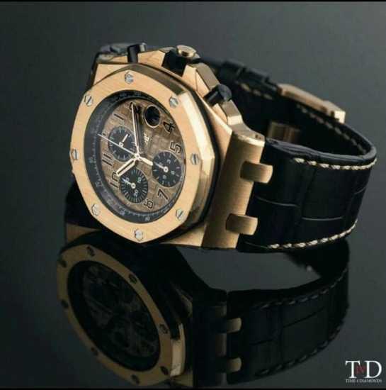 Audemars Piguet Black Leather Wristwatch Gold