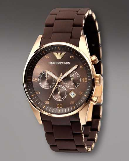 Emporio Armani Chrono Watch Brown   Rose Gold