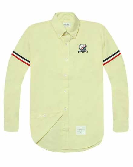 Thom Browne Chest Crested Long Sleeve Shirt Yellow