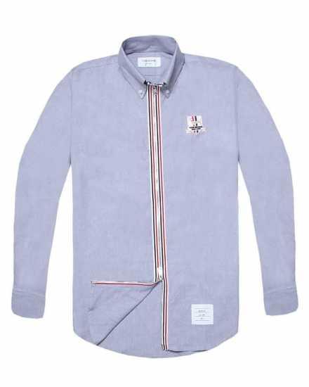 Thom Browne Zip Up Long Sleeve Shirt Grey