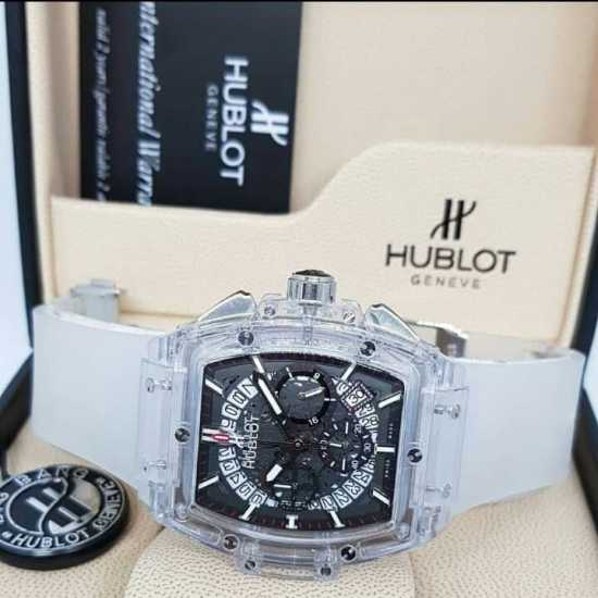 Hublot Black Chronograph Wristwatch Black White