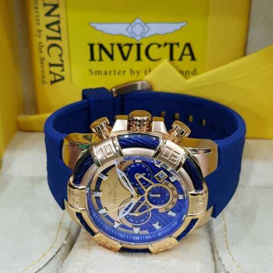 Invicta Bolt Chronograph Gold/Blue Dial Watch