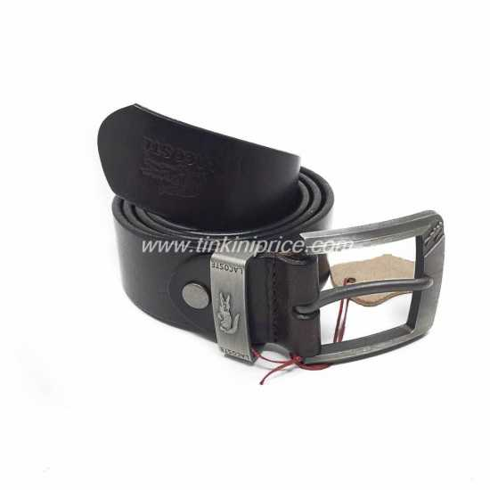 Lacoste Leather Belt Coffee Brown