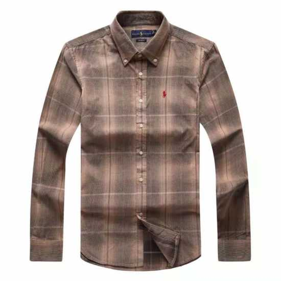Ralph Lauren Sued Checkers Long Sleeve  Shirt Brown
