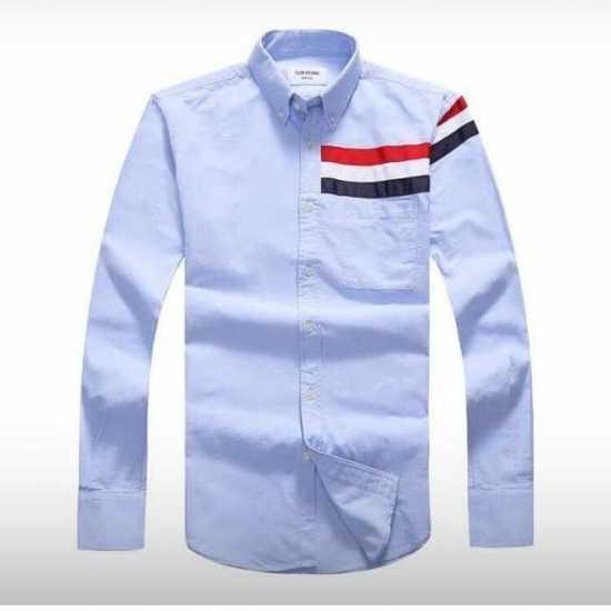 Thom Browne Half Stripe Long Sleeve Shirt Sky Blue