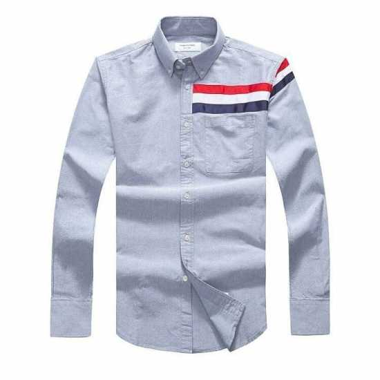 Thom Browne Half Stripe Long Sleeve Shirt Grey