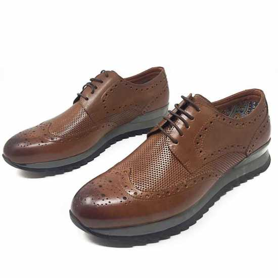 Selected Rough Sole Genuine Leather Shoe Brown