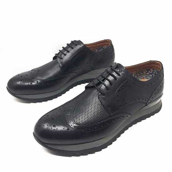 Selected Rough Sole Genuine Leather Shoe Black