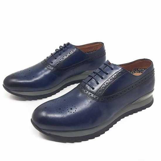 Selected Rough Sole Genuine Leather Shoe Blue