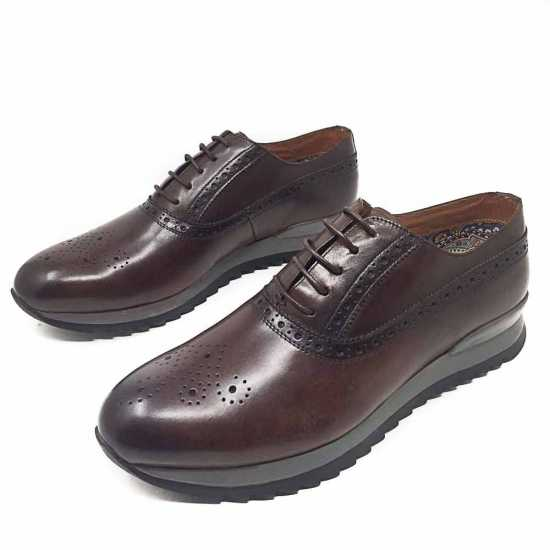 Selected Rough Sole Genuine Leather Shoe Coffee Brown