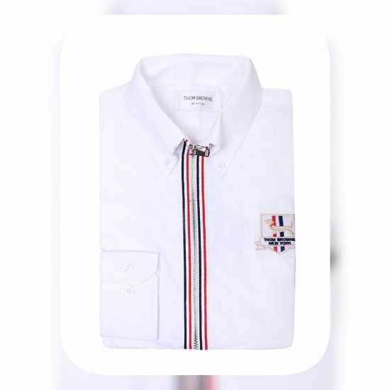 Thom Browne Zip Up Long Sleeve  Shirt White