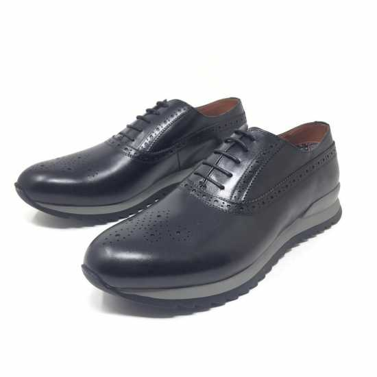 Selected Rough Sole Genuine Leather Shoe 2 Black