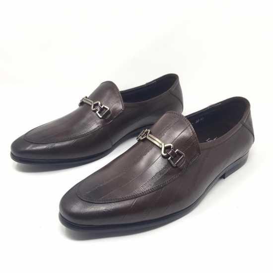 Loriblu Horsebit Patterned Shoes Coffee Brown