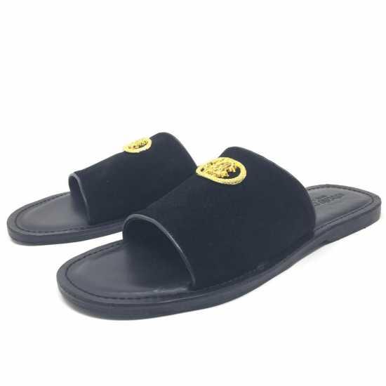 Roberto Cavalli Slide Suede Slippers Black
