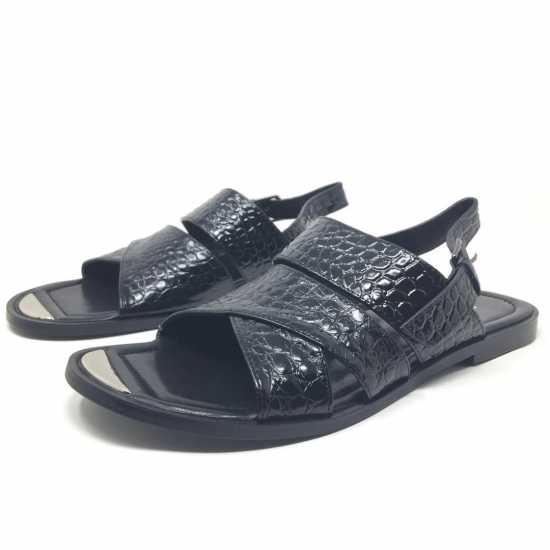 Giafranco Butter Croc Sandals Black