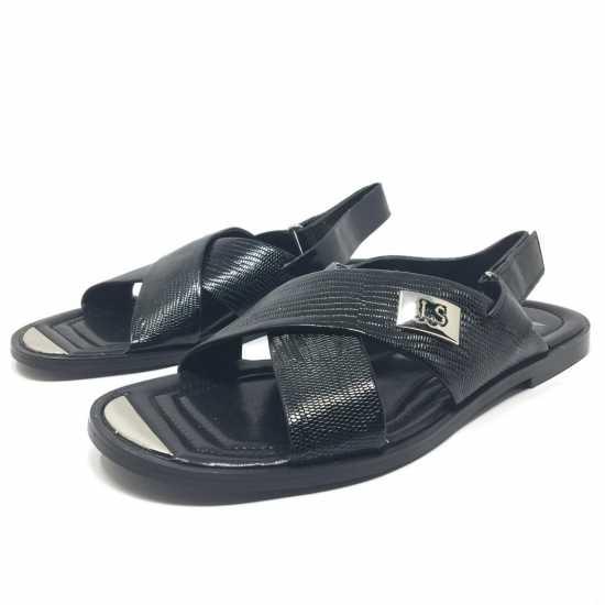Ishushan Wet look Leather Sandals Black