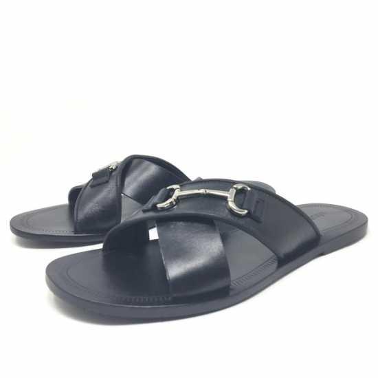 Roberto Cavalli  Horsbit Leather Slippers Black