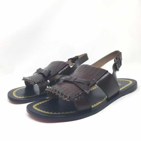 Christian Louboutin Leather Sandals Coffee Brown