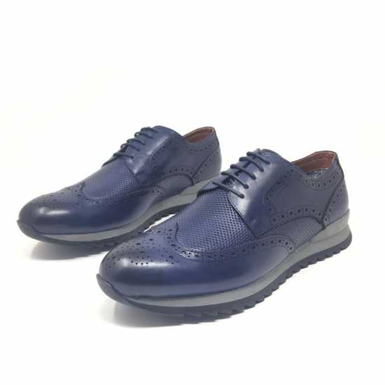 Selected Rough Sole Genuine Leather Shoe Blue 2
