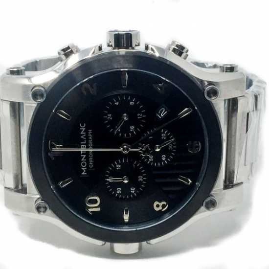 Montblanc Chronograph Swiss Made Stainless Steel Square Head Watch - 9168 Silver Black