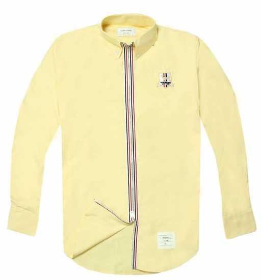 Thom Browne Zip Up Long Sleeve Shirt Yellow