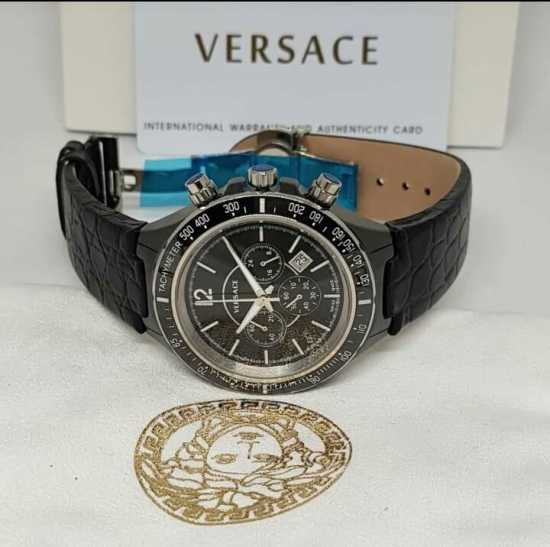 Versace Leather Watch All Black