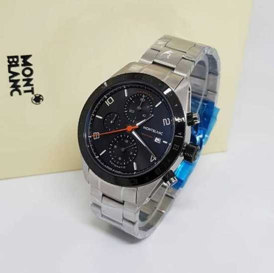 Mont Blank Chain Wristwatch Black Silver