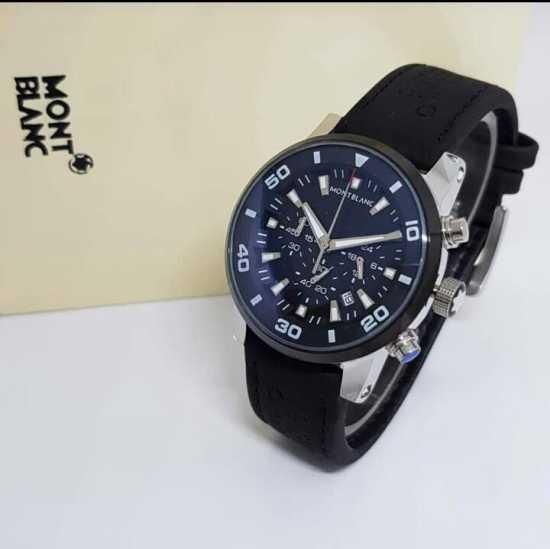 Mont Blank Wristwatch Black Silver
