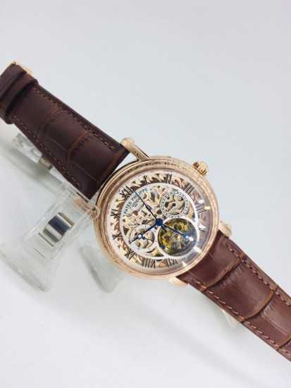 Patek Philippe Skeleton Leather Watch Gold Black