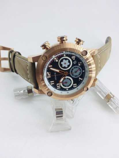 Mont Blanc Watch Rose Gold Brown Leather