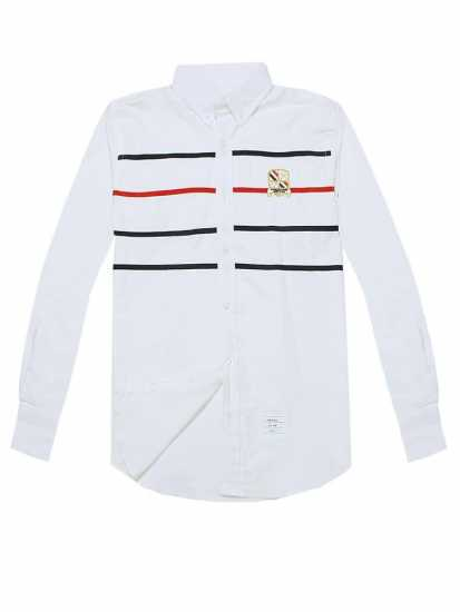 Thom Browne Chest Strip Long Sleeve Shirt White