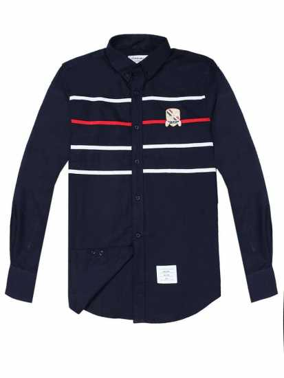 Thom Browne Chest Strip Long Sleeve Shirt Navy Blue