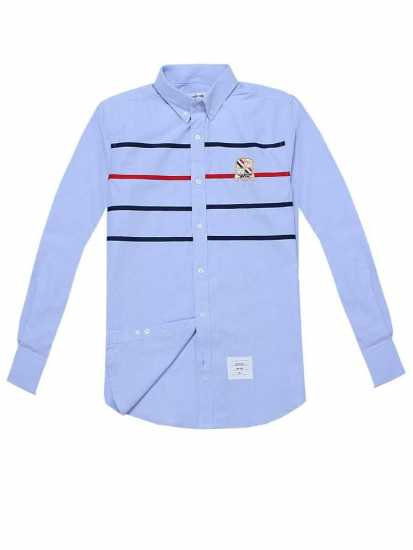 Thom Browne Chest Strip Long Sleeve Shirt Sky Blue