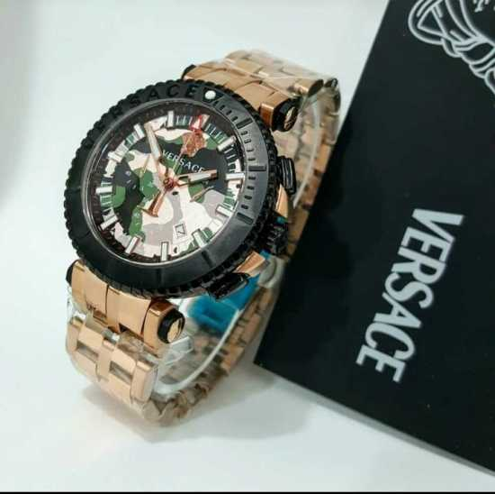 Versace Chain Wristwatch Black Rose Gold