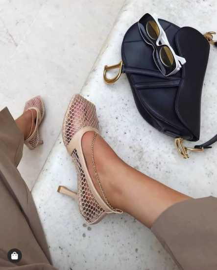 EGO Chain Square Toe Fishnet Court Shoe - Nude
