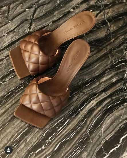 Square Toe Quilted Mule - Coffee